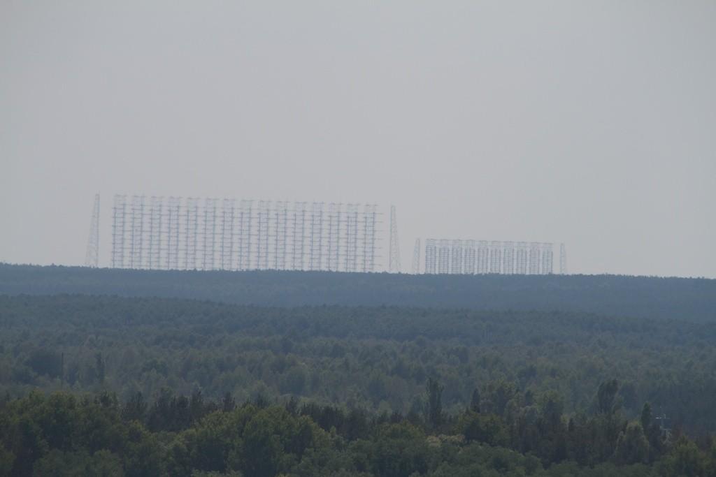 Blick auf die Duga Antenne in Pripyat